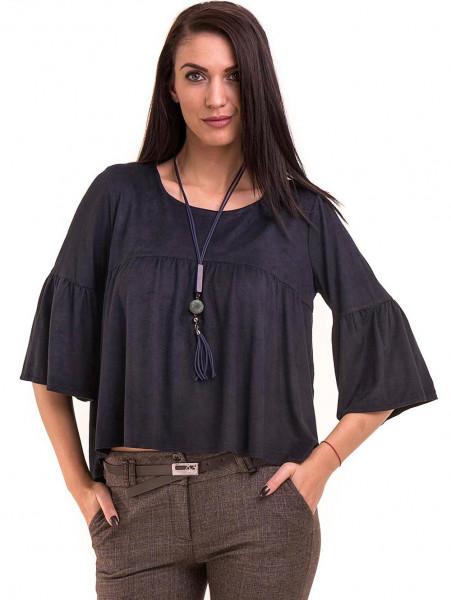 Дамска блуза MACCA с ръкав тип камбана и колие 604 - тъмно синя