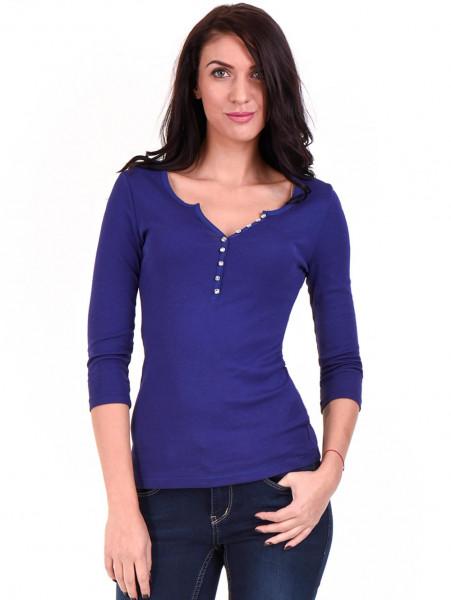 Дамска блуза с декоративни копчета STAMINA 010 - кралско синьо