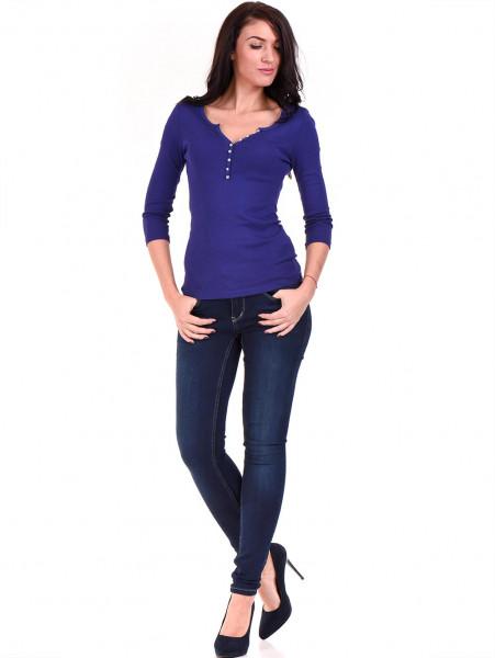 Дамска блуза с декоративни копчета STAMINA 010 - кралско синьо C