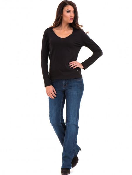 Дамска блуза с V-образно деколте XINT 091 - черна C