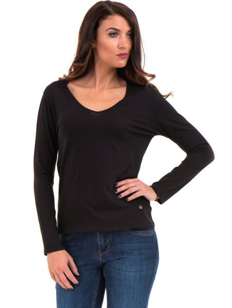 Дамска блуза с V-образно деколте XINT 091 - черна