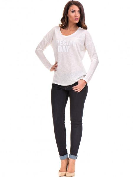 Дамска блуза с V-образно деколте XINT - цвят екрю C
