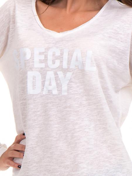 Дамска блуза с V-образно деколте XINT - цвят екрю D