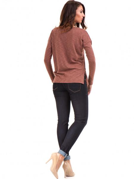 Дамска блуза с V-образно деколте XINT 116 - цвят керемида E