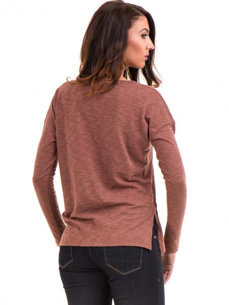 Дамска блуза с V-образно деколте XINT 116 - цвят керемида B