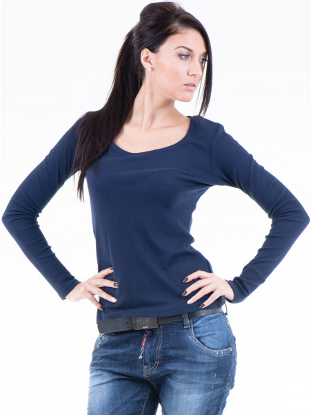 Дамска блуза с овално деколте XINT853 - цвят тъмно син