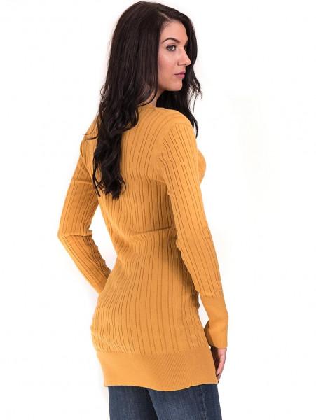 Туника от фино плетиво STAMINA 002 - цвят горчица B