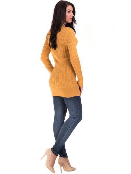 Туника от фино плетиво STAMINA 002 - цвят горчица E