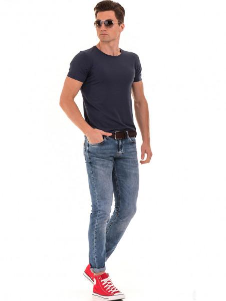 Мъжка вталена тениска XINT 856 - тъмно синя C