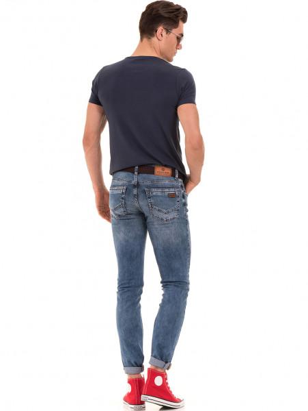 Мъжка вталена тениска XINT 856 - тъмно синя E