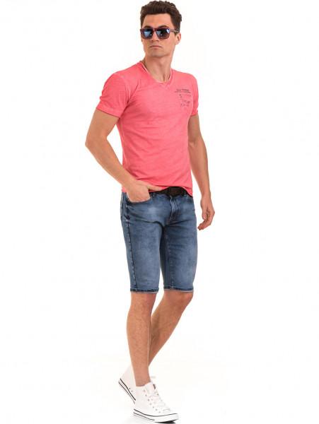 Мъжка памучна тениска с джоб BLUE PETROL 3118 - цвят корал C