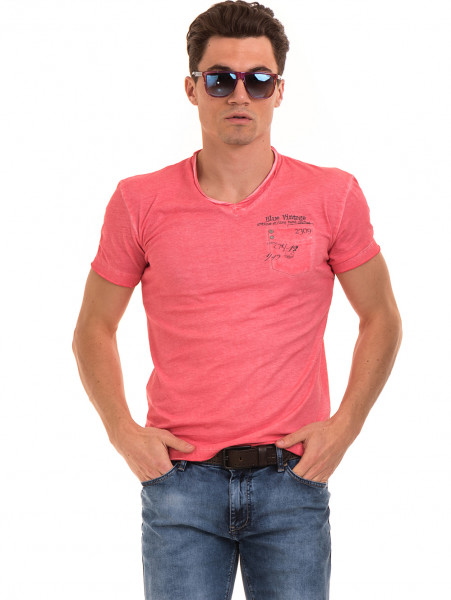 Мъжка памучна тениска с джоб BLUE PETROL 3118 - цвят корал