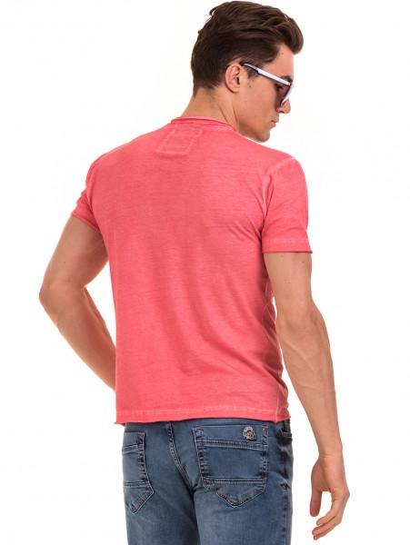 Мъжка памучна тениска с джоб BLUE PETROL 3118 - цвят корал B