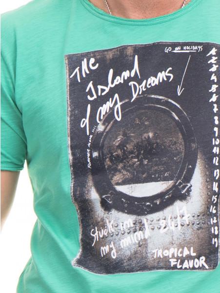 Мъжка памучна тениска с щампа MCL 23837 - зелена D