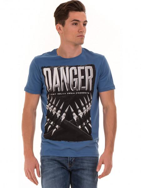Мъжка памучна тениска с къс ръкав RELAX 26060 - синя