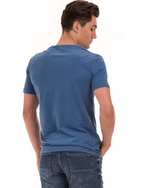 Мъжка памучна тениска с къс ръкав RELAX 26060 - синя B