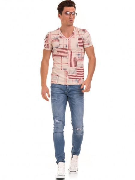 Мъжка тениска с V-образно деколте VIGOSS 60049 - светло бежова C