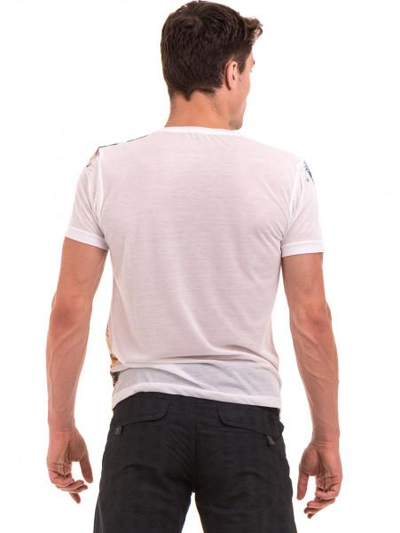 Мъжка блуза с къс ръкав и обло деколте VIGOSS 60080 - цвят екрю B