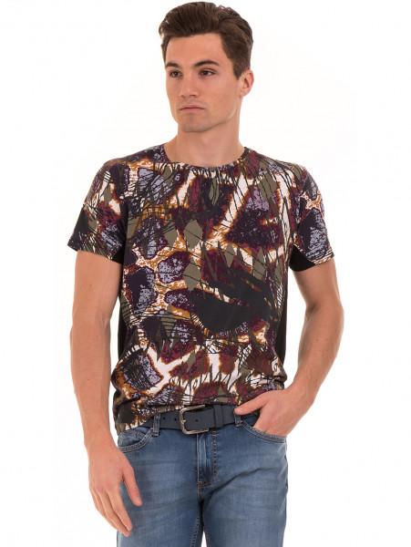 Мъжка блуза с абстрактна шарка XINT 755 - черна