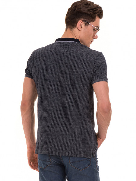 Мъжка блуза с къс ръкав и яка XINT 904 - тъмно синя B