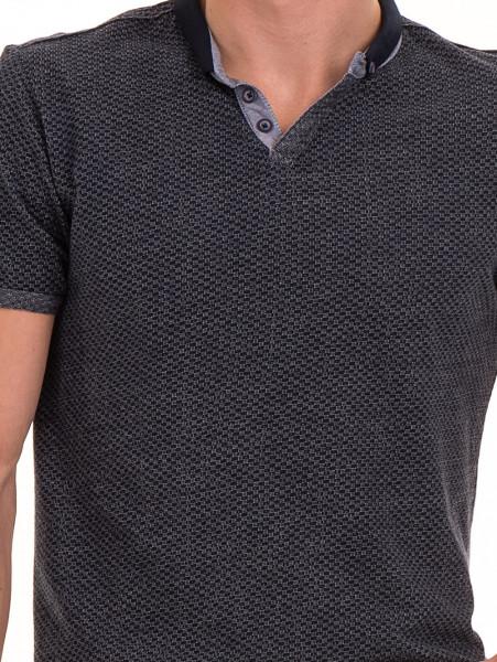 Мъжка блуза с къс ръкав и яка XINT 904 - тъмно синя D