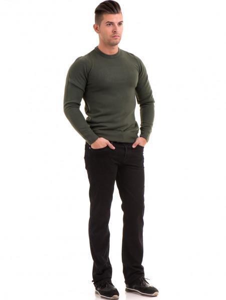 Класически мъжки дънки LACARINO 2085 с колан - черен деним C2