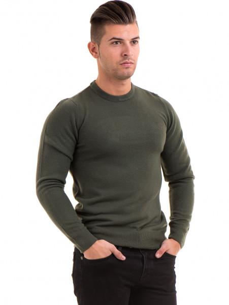 Мъжки пуловер от фино плетиво AFM 600 - цвят каки