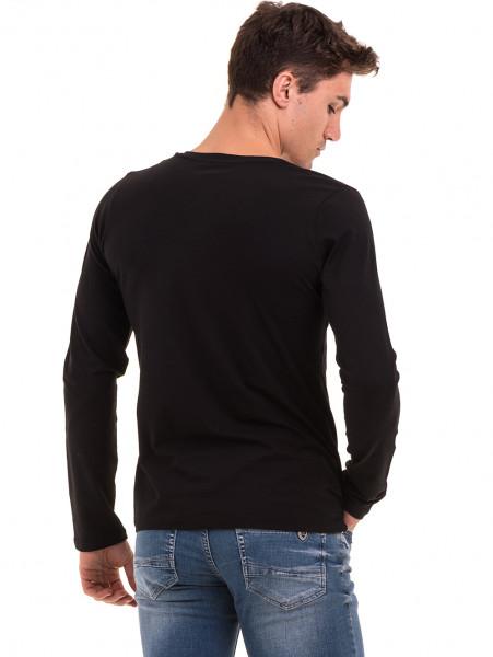 Мъжка блуза с V-образно деколте  BLUE PETROL 2085 - черна B