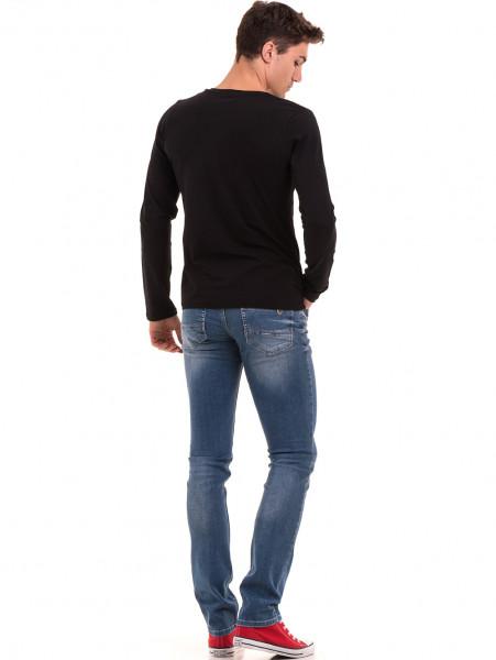 Мъжка блуза с V-образно деколте  BLUE PETROL 2085 - черна E