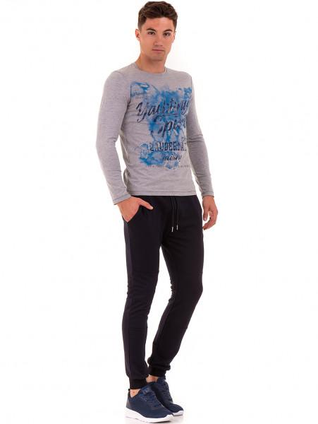 Мъжка спортна блуза с щампа MCL 29161 - сива C