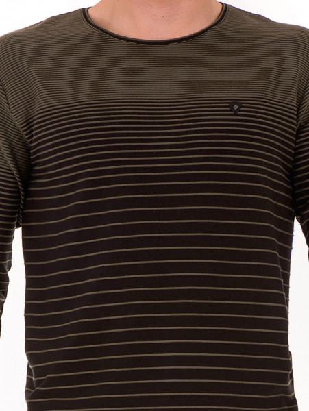 Мъжка блуза на райе MCL B29139- цвят каки - големи размери D