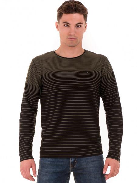 Мъжка блуза на райе MCL B29139- цвят каки - големи размери