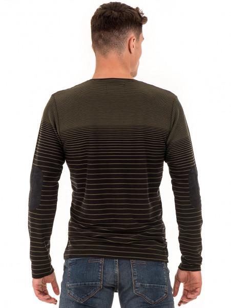 Мъжка блуза на райе MCL B29139- цвят каки - големи размери B