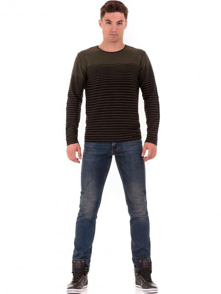 Мъжка блуза на райе MCL B29139- цвят каки - големи размери C