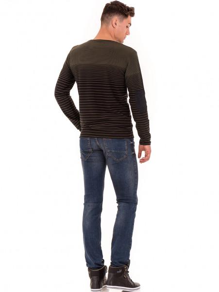 Мъжка блуза на райе MCL B29139- цвят каки - големи размери E