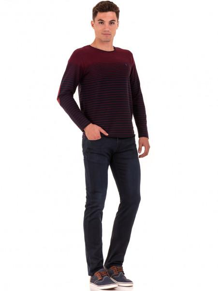 Мъжка блуза на райе MCL 29139 - цвят бордо C
