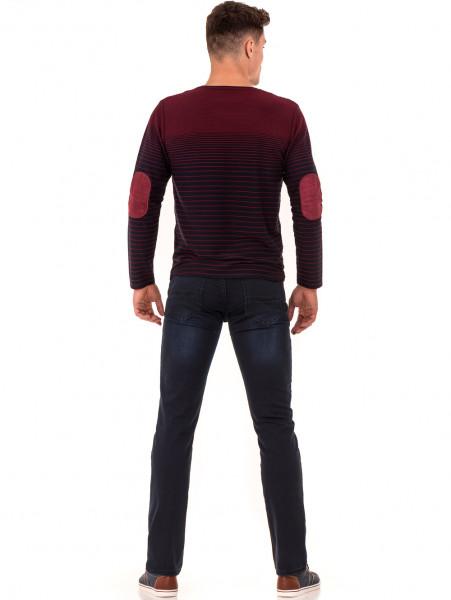 Мъжка блуза на райе MCL 29139 - цвят бордо E
