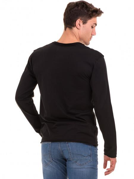 Мъжка спортна блуза с щампа-надпис VIGOSS 627 - черна B