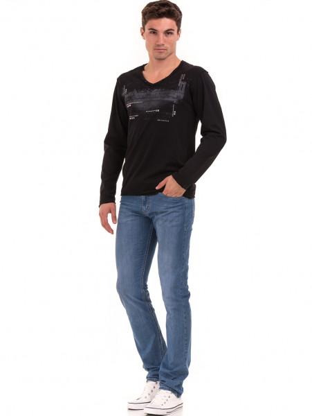 Мъжка спортна блуза с щампа-надпис VIGOSS 627 - черна C