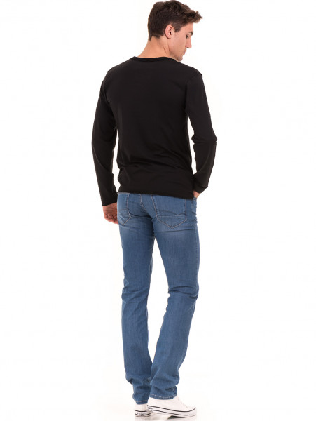 Мъжка спортна блуза с щампа-надпис VIGOSS 627 - черна E