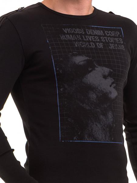 Мъжка спортна блуза с щампа VIGOSS 683 - черна D