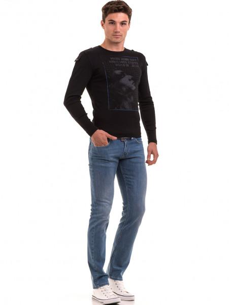 Мъжка спортна блуза с щампа VIGOSS 683 - черна C