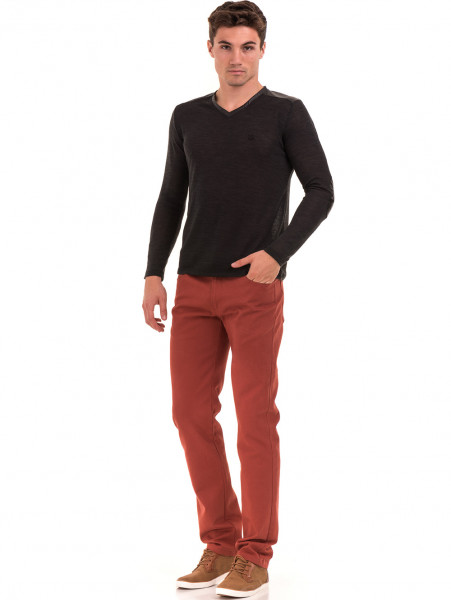Класически мъжки дънки LACARINO 2085 с колан - черен деним C1