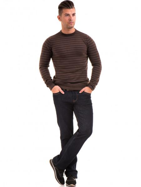 Мъжки пуловер на райе и обло деколте  AFM 604 - кафяв C