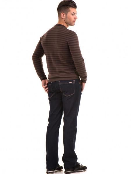 Мъжки пуловер на райе и обло деколте  AFM 604 - кафяв E
