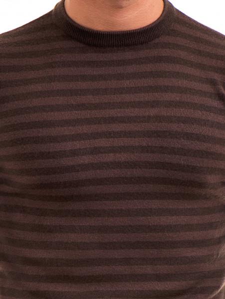 Мъжки пуловер на райе и обло деколте  AFM 604 - кафяв D