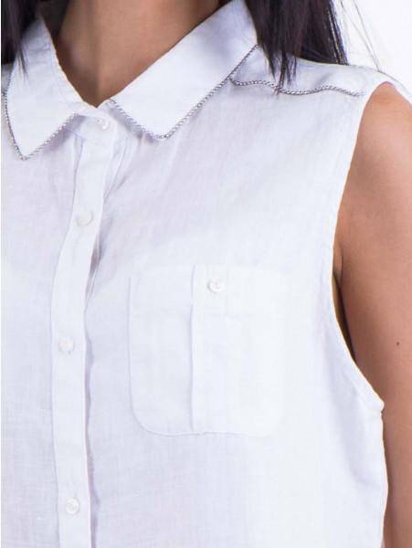 Дамска ленена риза XINT 287 - бяла D