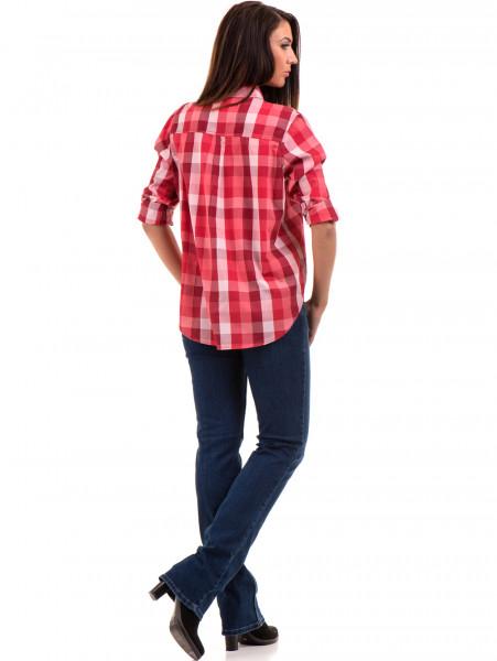 Широка карирана дамска риза RIV/SD 20116 - цвят корал E