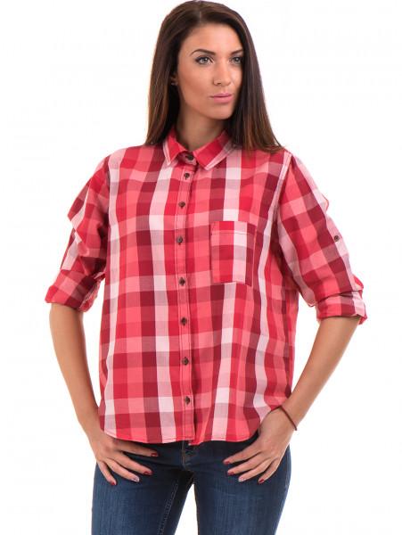 Широка карирана дамска риза RIV/SD 20116 - цвят корал