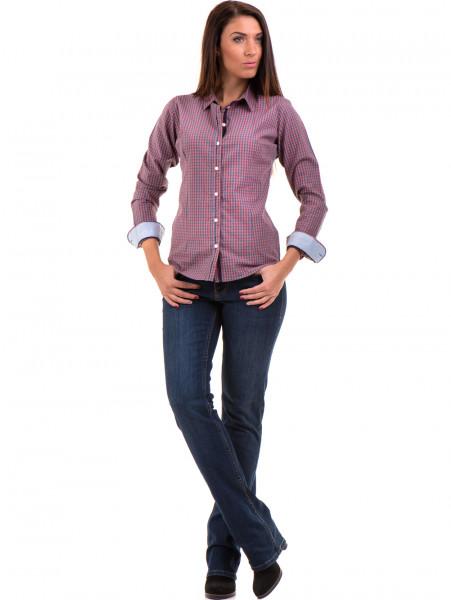 Карирана дамска риза RIV/SD вталена 20145 - тъмно розова C